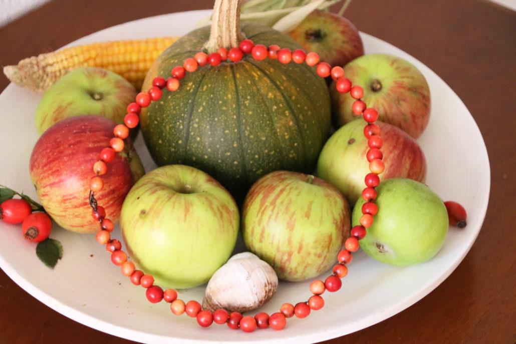 herbstdekoration mit Kürbis, Äpfel, Hagebutten, Maiskolben, Kranz aus Eberesche basteln