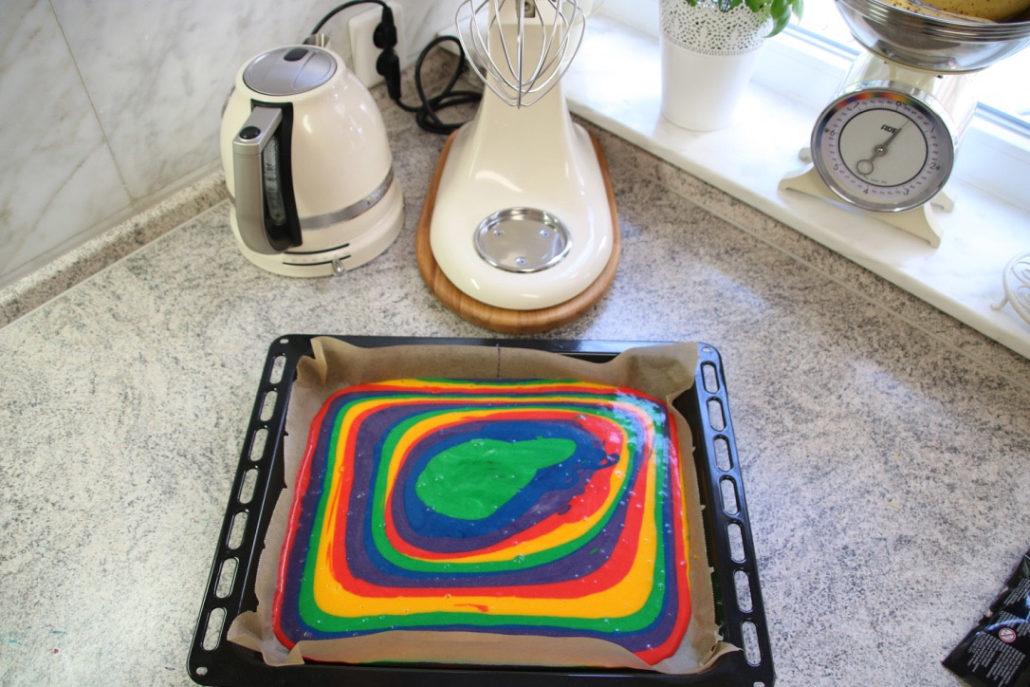 regenbogenblechkuchen, Rezept Zuckertütenkuchen, Torte zur Einschulung, Kuchen in Form einer Schultüte, Schultüte backen, einfacher Kuchen Schulanfang, Kuchen zur Einschulung