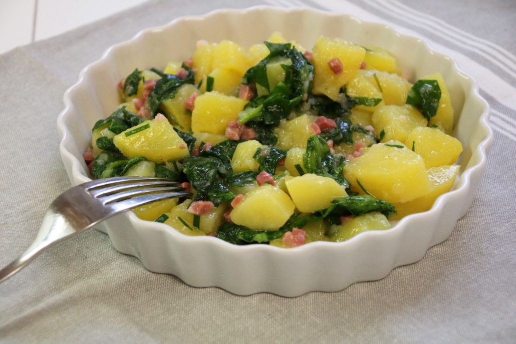 Kartoffelsalat mit frischem Spinat aus dem Thermomix