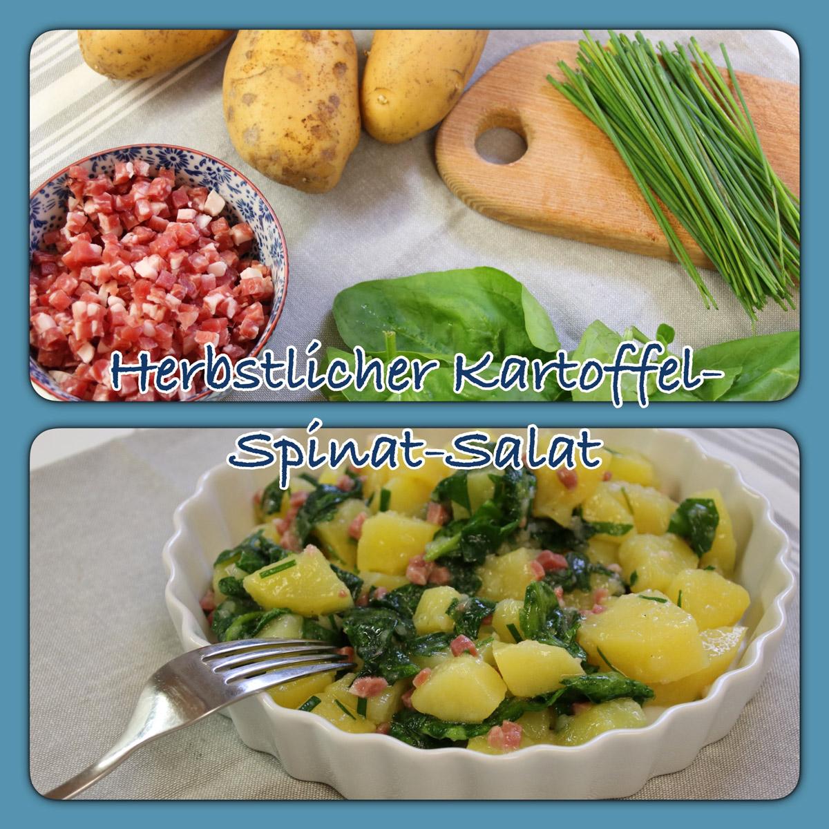 Rezept für Kartoffelsalat mit Spinat, mit ganzen Pellkartoffeln, Kartoffel-Spinat-Salat aus dem Thermomix, leckeres Salatrezept zum Grillen