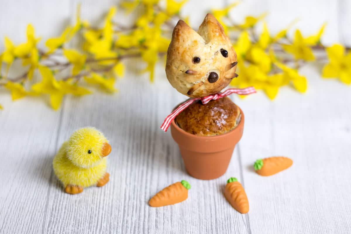 Backidee für den Osterbrunch – Osterhase im Blumentopf