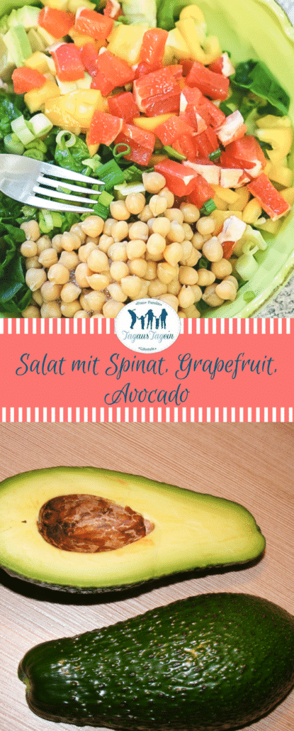 Salat mit Spinat, Grapefruit, Kichererbsen & Avocado