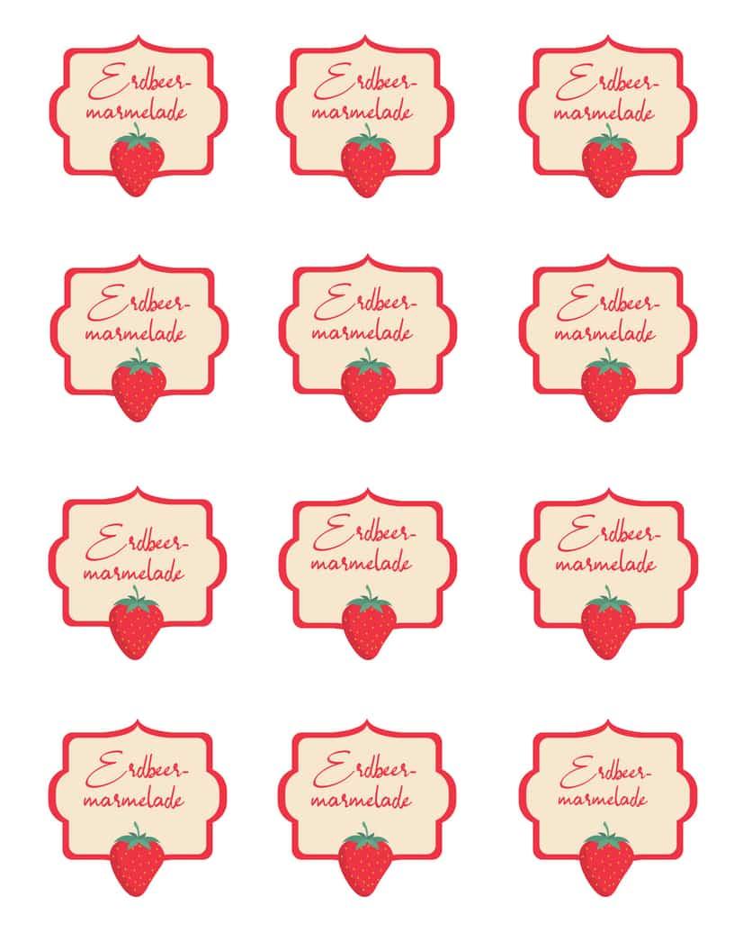 Etiketten Erdbeermarmelade