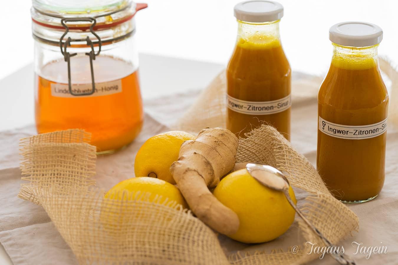 Ingwer Zitronen Sirup – Hausmittel gegen Husten, Halsschmerzen und Erkältung