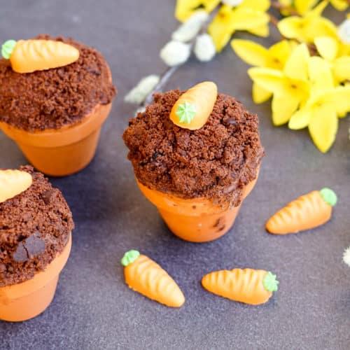 Cupcake im Blumentopf