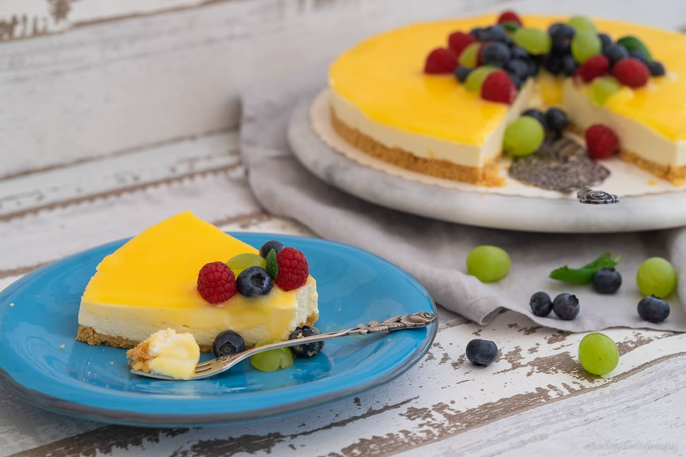 Lemon Curd Cheesecake mit Keksboden – Perfekter Kuchen zum Kaffeeklatsch