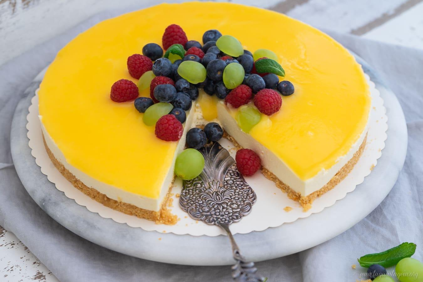 Lemon Curd Cheesecake Mit Keksboden Kasekuchen Ohne Backen