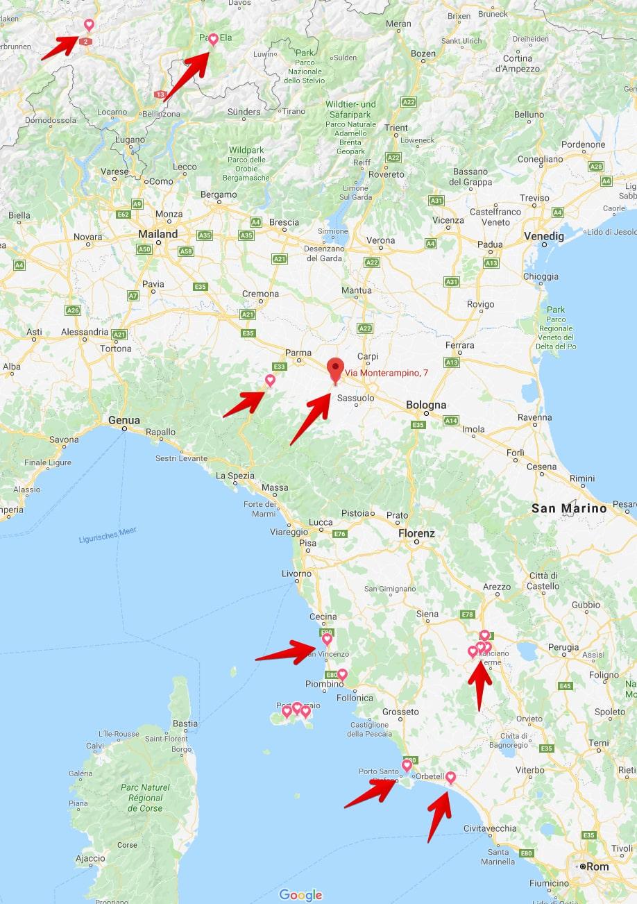 Reiseroute Wohnmobil Tour Toskana