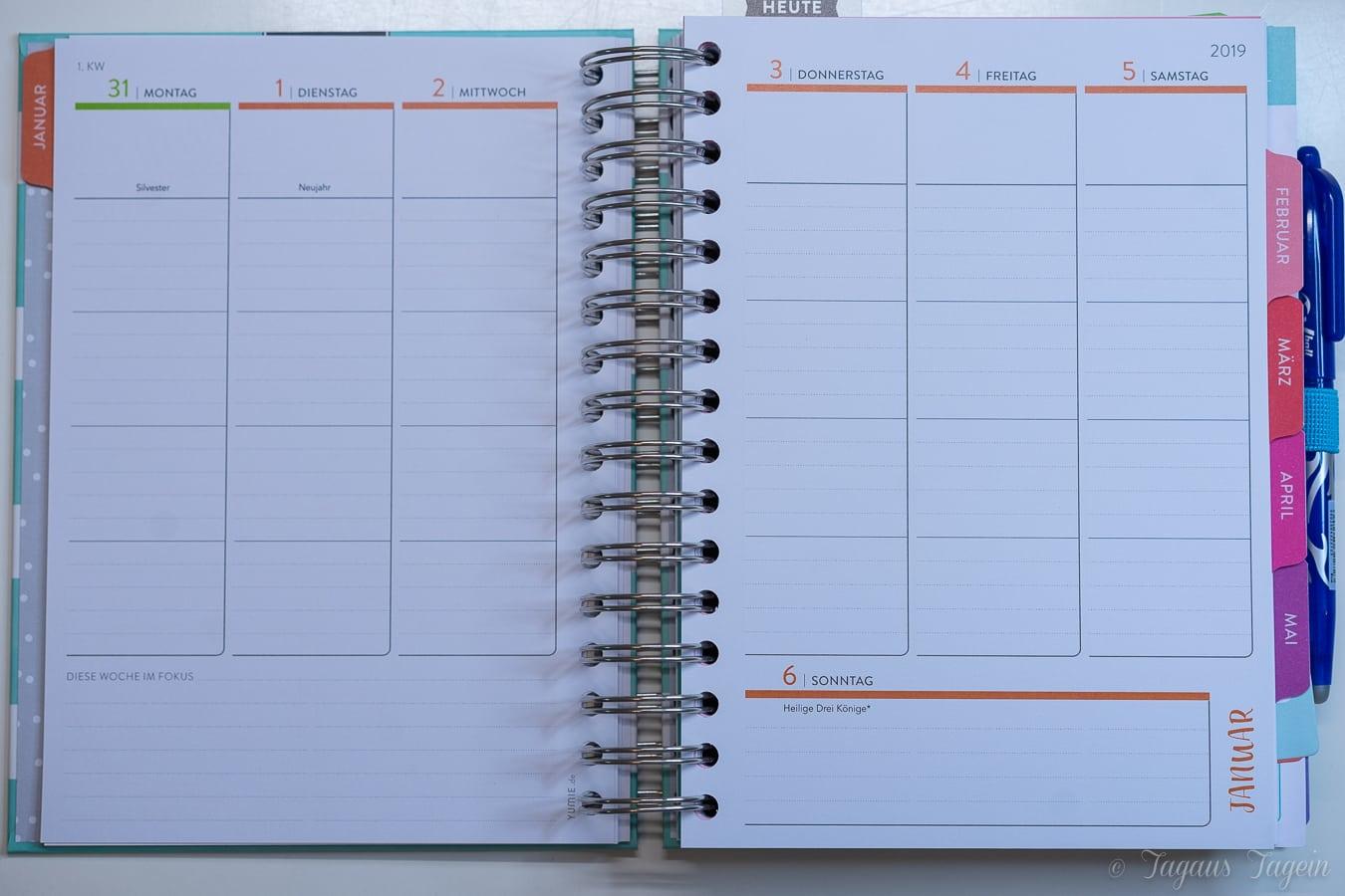 Meine Planung mit dem Yumie Planer