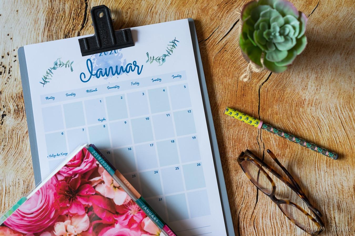 kostenloser Kalender 2020 zum Ausdrucken