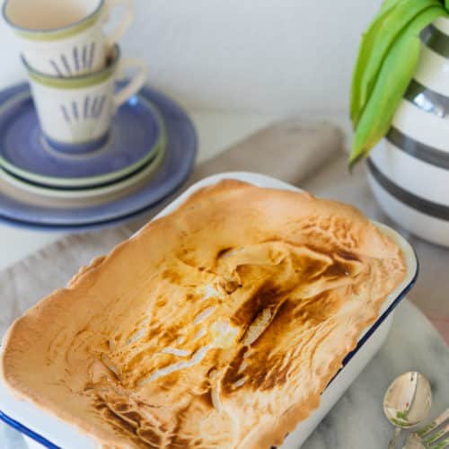 Quarkauflauf-Kuchen mit Baiserhaube