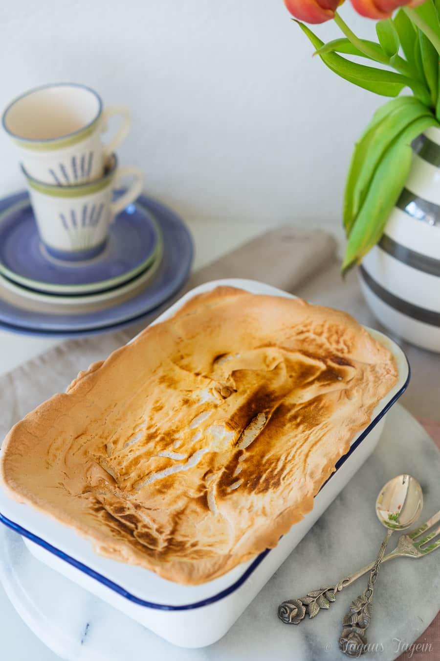 Quarkauflauf-Kuchen mit Baiserhaube – Einfacher Kuchen für viele Leute