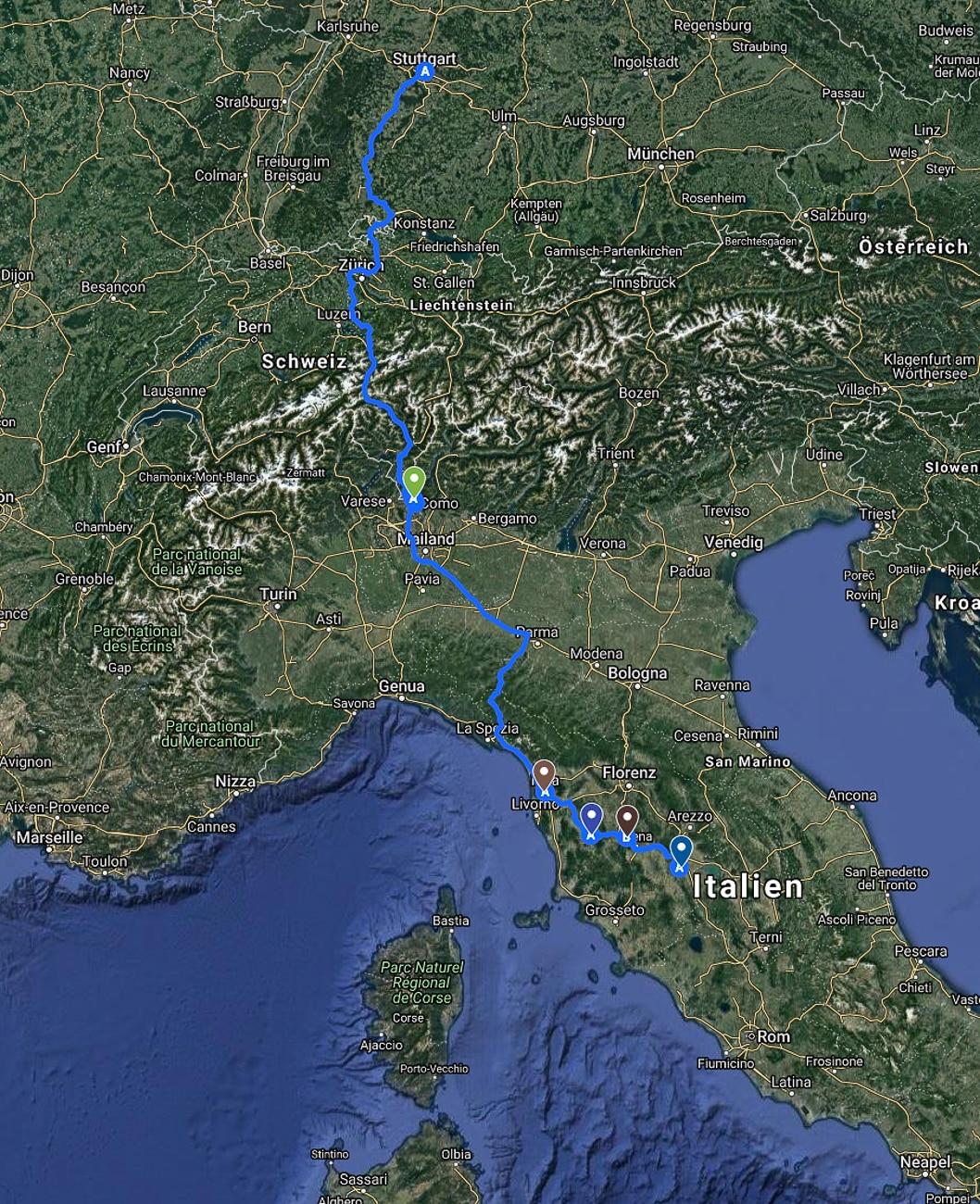 Reiseroute Stellplätze Wohnmobil Toskana